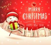 Χαρούμενα Χριστούγεννα! Εύθυμος χιονάνθρωπος με το δώρο παρόν στο χειμερινό τοπίο σκηνής χιονιού Χριστουγέννων διανυσματική απεικόνιση