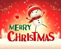 Χαρούμενα Χριστούγεννα! Εύθυμος χιονάνθρωπος στο χειμερινό τοπίο σκηνής χιονιού Χριστουγέννων διανυσματική απεικόνιση