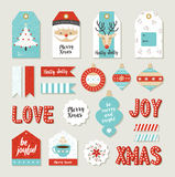 Χαρούμενα Χριστούγεννα καθορισμένη το λεύκωμα αποκομμάτων τις diy εκτυπώσιμες ετικέττες απεικόνιση αποθεμάτων