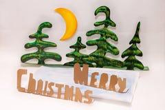 Χαρούμενα Χριστούγεννα και δάσος εγγράφου Στοκ Εικόνες