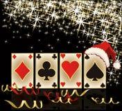 Χαρούμενα Χριστούγεννα και έμβλημα χαρτοπαικτικών λεσχών καλής χρονιάς Στοκ Φωτογραφίες