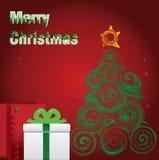 Χαρούμενα Χριστούγεννα και δέντρο. Στοκ εικόνες με δικαίωμα ελεύθερης χρήσης