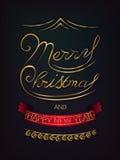 Χαρούμενα Χριστούγεννα και αφίσα καλής χρονιάς Στοκ Φωτογραφία