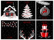Χαρούμενα Χριστούγεννα και αφίσες υποβάθρου καλής χρονιάς, πρότυπα ευχετήριων καρτών με τις σκηνές βραδιού νύχτας ελεύθερη απεικόνιση δικαιώματος