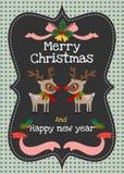 Χαρούμενα Χριστούγεννα και διανυσματική ευχετήρια κάρτα καλής χρονιάς Στοκ Εικόνες