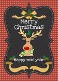 Χαρούμενα Χριστούγεννα και διανυσματική ευχετήρια κάρτα καλής χρονιάς Στοκ Εικόνα