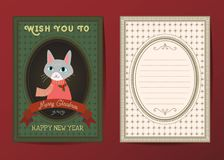 Χαρούμενα Χριστούγεννα και διανυσματική ευχετήρια κάρτα καλής χρονιάς Στοκ φωτογραφίες με δικαίωμα ελεύθερης χρήσης
