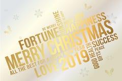 Χαρούμενα Χριστούγεννα και διανυσματικό σχέδιο τυπογραφίας καλής χρονιάς για τις ευχετήριες κάρτες, το έμβλημα, την πρόσκληση και διανυσματική απεικόνιση