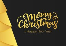 Χαρούμενα Χριστούγεννα και εγγραφή καλής χρονιάς σε ένα μαύρο υπόβαθρο με τις διακοσμήσεις ενός χρυσού φύλλου αλουμινίου Κάρτα χε ελεύθερη απεικόνιση δικαιώματος