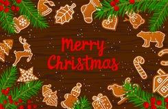 Χαρούμενα Χριστούγεννα και εποχιακά μπισκότα μελοψωμάτων υποβάθρου χειμερινών καρτών καλής χρονιάς στον ξύλινο πίνακα σύστασης Στοκ εικόνες με δικαίωμα ελεύθερης χρήσης