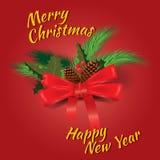 Χαρούμενα Χριστούγεννα και ευχετήρια κάρτα καλής χρονιάς με τους κώνους έλατου διακοσμήσεων Chrirstmas, μούρο ελαιόπρινου επίσης  απεικόνιση αποθεμάτων