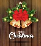 Χαρούμενα Χριστούγεννα και ευχετήρια κάρτα καλής χρονιάς με το δέντρο Β του FIR διανυσματική απεικόνιση