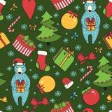 Χαρούμενα Χριστούγεννα και ζωηρόχρωμο άνευ ραφής υπόβαθρο καλής χρονιάς Στοκ Εικόνες