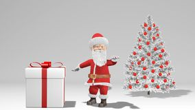 Χαρούμενα Χριστούγεννα και ζωτικότητα καλής χρονιάς 2019 Άγιος Βασίλης με ένα δώρο Χριστουγέννων κοντά στο χριστουγεννιάτικο δέντ διανυσματική απεικόνιση