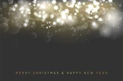 Χαρούμενα Χριστούγεννα και κάρτα καλής χρονιάς με τα λαμπρά αστέρια ελεύθερη απεικόνιση δικαιώματος