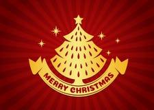 Χαρούμενα Χριστούγεννα και κάρτα καλής χρονιάς - χρυσές χριστουγεννιάτικο δέντρο και κορδέλλα στο διανυσματικό σχέδιο υποβάθρου κ Στοκ Εικόνες