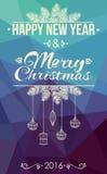 Χαρούμενα Χριστούγεννα και κάρτα καλής χρονιάς Στοκ Εικόνες