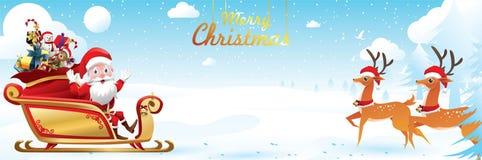 Χαρούμενα Χριστούγεννα και καλή χρονιά Άγιος Βασίλης είναι έλκηθρο ταράνδων γύρων με έναν σάκο των δώρων στη σκηνή χιονιού Χριστο απεικόνιση αποθεμάτων