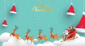 Χαρούμενα Χριστούγεννα και καλή χρονιά Άγιος Βασίλης είναι έλκηθρο ταράνδων γύρων με έναν σάκο των δώρων στη σκηνή χιονιού Χριστο ελεύθερη απεικόνιση δικαιώματος