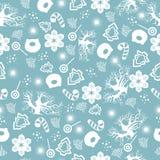 Χαρούμενα Χριστούγεννα και καλή χρονιά Άνευ ραφής σχέδιο Χριστουγέννων με το νέο δέντρο έτους, χοίρος, snowflakes, γλυκά, χειμερι απεικόνιση αποθεμάτων