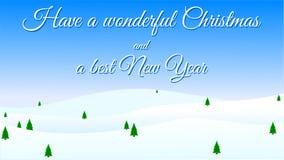 Χαρούμενα Χριστούγεννα και καλή χρονιά - ευχετήρια κάρτα, χιόνι και χριστουγεννιάτικα δέντρα διανυσματική απεικόνιση