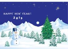Χαρούμενα Χριστούγεννα και καλή χρονιά 2019 Χριστούγεννα η διανυσματική έκδοση δέντρων χαρτοφυλακίων μου Στοκ εικόνα με δικαίωμα ελεύθερης χρήσης