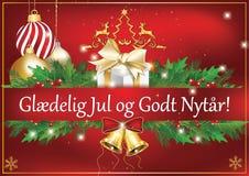 Χαρούμενα Χριστούγεννα και καλή χρονιά - κόκκινη ευχετήρια κάρτα σε δανικά διανυσματική απεικόνιση
