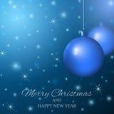 Χαρούμενα Χριστούγεννα και καλή χρονιά Ανασκόπηση με τις σφαίρες Χριστουγέννων Στοκ φωτογραφίες με δικαίωμα ελεύθερης χρήσης