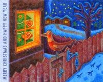 Χαρούμενα Χριστούγεννα και καλή χρονιά 3 - απεικόνιση κινούμενων σχεδίων Στοκ Εικόνες