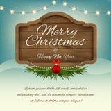 Χαρούμενα Χριστούγεννα και καλή χρονιά επιβιβαστείτε στο σημάδι ξύλινο Διανυσματική GR Στοκ φωτογραφία με δικαίωμα ελεύθερης χρήσης