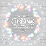 Χαρούμενα Χριστούγεννα και καλή χρονιά 2017 καμμένος στεφάνι Χριστου& ελεύθερη απεικόνιση δικαιώματος