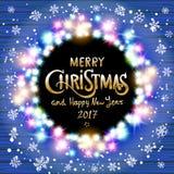 Χαρούμενα Χριστούγεννα και καλή χρονιά 2017 καμμένος στεφάνι Χριστου& απεικόνιση αποθεμάτων