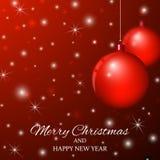 Χαρούμενα Χριστούγεννα και καλή χρονιά Υπόβαθρο με το BA Χριστουγέννων Στοκ Φωτογραφία