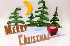 Χαρούμενα Χριστούγεννα και κερί Στοκ Εικόνες