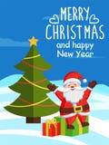 Χαρούμενα Χριστούγεννα και κιβώτιο δώρων καλής χρονιάς Santa Στοκ φωτογραφία με δικαίωμα ελεύθερης χρήσης