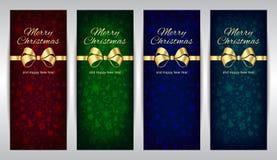 Χαρούμενα Χριστούγεννα και κόκκινο πράσινο μπλε σύνολο καλής χρονιάς κάθετου διανυσματικού σκοτεινού υποβάθρου εμβλημάτων με τη χ απεικόνιση αποθεμάτων