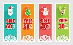 Χαρούμενα Χριστούγεννα και νέο έμβλημα έτους με το εικονίδιο Χριστουγέννων Στοκ Εικόνες