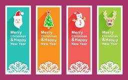 Χαρούμενα Χριστούγεννα και νέο έμβλημα έτους με το εικονίδιο Χριστουγέννων Στοκ εικόνες με δικαίωμα ελεύθερης χρήσης