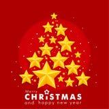 Χαρούμενα Χριστούγεννα και νέο έτος, κόκκινο υπόβαθρο με τα χρυσά τρισδιάστατα αστέρια, έμβλημα Χριστουγέννων, κάρτα Στοκ Εικόνες