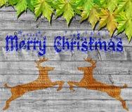 Χαρούμενα Χριστούγεννα και πράσινα φύλλα στο ξύλινο υπόβαθρο Στοκ εικόνες με δικαίωμα ελεύθερης χρήσης