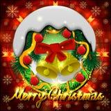 Χαρούμενα Χριστούγεννα και στεφάνι επιγραφής απεικόνισης Στοκ φωτογραφία με δικαίωμα ελεύθερης χρήσης