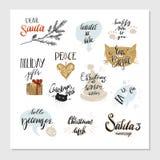 Χαρούμενα Χριστούγεννα και σχέδια τυπογραφίας καλής χρονιάς καθορισμένες επίσης corel σύρετε το διάνυσμα απεικόνισης Στοκ εικόνα με δικαίωμα ελεύθερης χρήσης