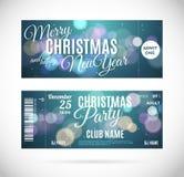 Χαρούμενα Χριστούγεννα και σχέδιο εισιτηρίων καλής χρονιάς, διανυσματική απεικόνιση Στοκ εικόνες με δικαίωμα ελεύθερης χρήσης