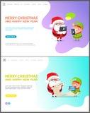 Χαρούμενα Χριστούγεννα και σύνολο ιστοσελίδας καλής χρονιάς διανυσματική απεικόνιση