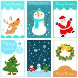 Χαρούμενα Χριστούγεννα και σύνολο καρτών καλής χρονιάς Στοκ Εικόνα