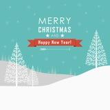 Χαρούμενα Χριστούγεννα και τοπίο καλής χρονιάς Απεικόνιση αποθεμάτων