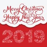 Χαρούμενα Χριστούγεννα και τυπογραφία καλής χρονιάς 2019 διανυσματική απεικόνιση