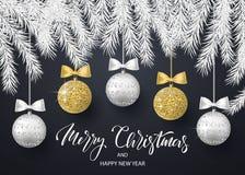 Χαρούμενα Χριστούγεννα και υπόβαθρο καλής χρονιάς για τη ευχετήρια κάρτα διακοπών, πρόσκληση, ιπτάμενο κομμάτων, αφίσα, έμβλημα α ελεύθερη απεικόνιση δικαιώματος