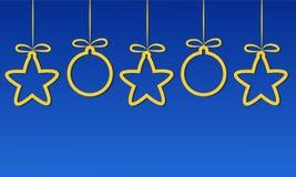 Χαρούμενα Χριστούγεννα και υπόβαθρο καλής χρονιάς με τα κίτρινα αστέρια ελεύθερη απεικόνιση δικαιώματος