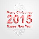 Χαρούμενα Χριστούγεννα και υπόβαθρο καλής χρονιάς 2015 Snowflake πηγή σχεδίων Στοκ Εικόνες